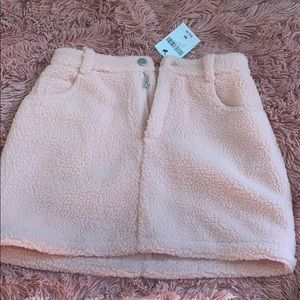 Forever 21 Faux Shearling Pink Mini Skirt